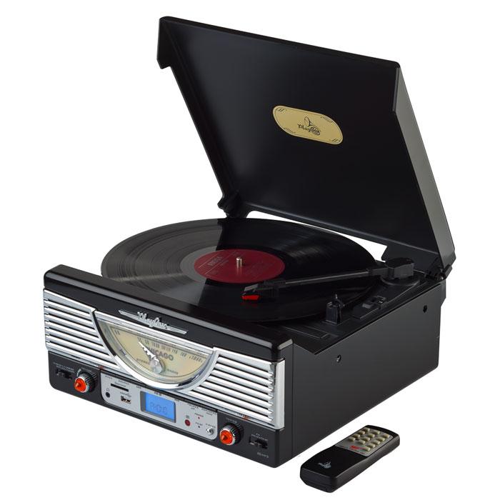 PlayBox Chicago ретро-проигрыватель, Black (PB-103U)PB-103U-BKPlayBox Chicago - стильный и компактный проигрыватель виниловых дисков, дизайн которого напоминает проигрыватели в форме чемоданчиков 50-х годов прошлого века. Данная модель позволит вам прослушивать пластинки всех известных типов, а встроенный радиоприемник - наслаждаться любимыми радиостанциями. Интерфейс USB, а также слот для карт памяти SD/MMC предназначены для записи музыки с виниловых пластинок на внешние носители информации. Помимо всех основных разъемов, проигрыватель оснащен встроенными динамиками.