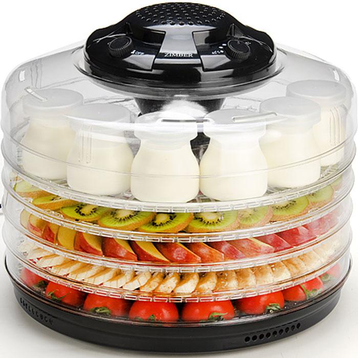 Zimber ZM-11026 дегидратор-йогуртницаZM-11026Zimber ZM-11026 служит для сушки овощей, фруктов, грибов и трав в домашних условиях. Встроенный вентилятор равномерно распределяет по устройству горячий воздух, а регулятор температуры от 35 до 70°С позволяет выбрать оптимальную для данного вида продуктов температуру. При помощи Zimber ZM-11026 вы легко сделаете внушительные запасы витаминов на зиму, быстро и качественно обработав овощи и фрукты для их последующего хранения. Пять уровней обеспечивают удобное размещение продуктов внутри устройства и легкий доступ к ним, а прозрачные стенки корпуса позволят вам видеть, какие именно ингредиенты находятся внутри. Также другим огромным плюсом для хозяйки будет необычайная простота управления.6 емкостей для йогурта Расстояние между секциями 3 см.