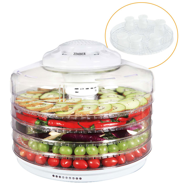 Zimber ZM-11025 дегидратор-йогуртницаZM-11025Zimber ZM 11025- это сушилка для овощей, которая позволит Вам быстро и качественно обработать овощи и фрукты для их последующего хранения. С ее помощью вы с легкостью сделаете внушительные запасы витаминов на зиму. Пять уровней обеспечат удобное размещение продуктов внутри устройства и легкий доступ к ним, а прозрачные стенки корпуса позволят видеть, какие именно овощи находятся внутри. Подобрав оптимальную температуру в диапазоне от 35 до 70 градусов, вы засушите овощи до необходимого состояния, а также сможете приготовить йогурт. Также огромным плюсом является необычайная простота управления.6 емкостей для йогурта входят в комплект