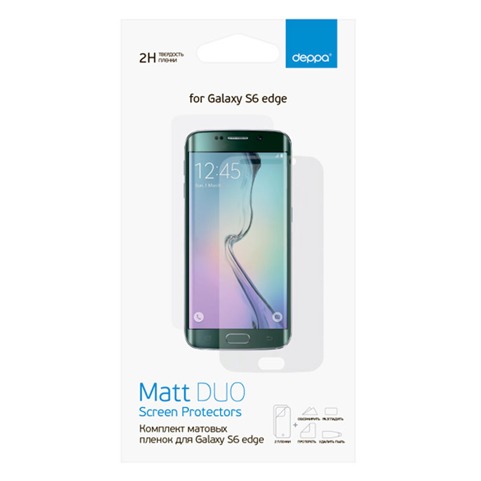 Deppa комплект защитных пленок для Samsung Galaxy S6 Edge, матовые61385Комплект защитных пленок Deppa для Samsung Galaxy S6 Edge защитит экран вашего устройства от царапин. Пленки изготовлены из 3-слойного материала PET, изготовленного в Японии.