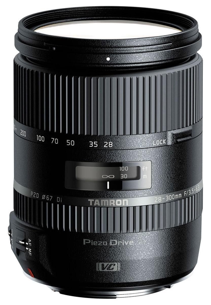 Tamron 28-300mm F/3.5-6.3 Di VC PZD, Sony объективA010SМощный 10,7-кратный объектив Tamron 28-300mm F/3.5-6.3 Di VC PZD оптимизирован для использования с цифровыми зеркальными фотокамерами, о чем говорит аббревиатура Di (Digital) в его названии. Однако модель может без каких-либо ограничений использоваться с пленочными или полнокадровыми цифровыми SLR-камерами. При работе с неполнокадровыми зеркальными камерами поле зрения объектива приблизительно соответствует фокусным расстояниям в диапазоне от стандартного до ультрателе (44 - 465 мм в 35-мм экв.). Поэтому модель станет оптимальным выбором для фотографов-путешественников, ищущих универсальный объектив на все случаи жизни.В конструкции используется элемент из стекла XR с высоким индексом преломления, который, так же как и входящие в оптическую схему два элемента из низкодисперсионного стекла LD, оптимизирует общее распределение освещения и сводит к минимуму вероятность возникновения аберраций. В оптической схеме также имеются три гибридные асферические линзы (одна из них - линза AD из стекла с аномальной дисперсией), что и позволило сократить размеры объектива, не жертвуя качеством изображения. Специальное покрытие внутренних поверхностей объектива и многослойное просветление оптических элементов практически исключает блики и переотражения света как от линз, так и от светочувствительной матрицы цифровой камеры.Особая конструкция оптической схемы предупреждает снижение качества изображения вследствие изменения угла падения световых лучей на матрицу при зумировании. При любом фокусном расстоянии объектив обеспечивает получение изображений с превосходным разрешением, великолепной яркостью по всей площади кадра от центра до периферии, высокой резкостью и правильной цветопередачей.Наведение резкости осуществляется при помощи механизма внутренней фокусировки. Это гарантирует высокую скорость и точность наведения резкости, а также, поскольку передний элемент в процессе работы остается неподвижным, упрощает использование ц