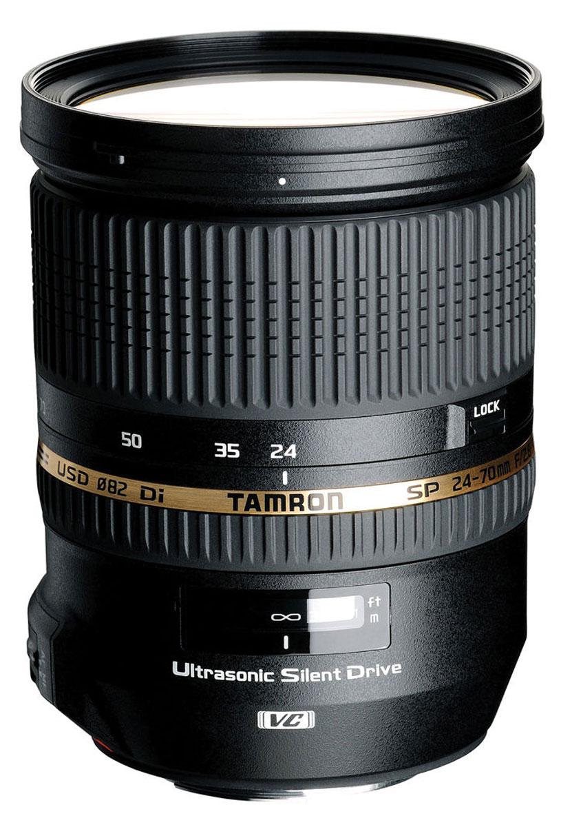 Tamron SP 24-70mm F/2.8 Di VC USD, Nikon объективA007NВоплощая в своем конструктивном решении улучшенные рабочие характеристики и высокое качество изображений, высокоскоростной зум-объектив Tamron SP 24-70mm f/2.8 Di VC USD предлагает диапазон фокусных расстояний от 24 мм до 70 мм дополнительно к эксклюзивной системе компенсации вибраций VC компании Tamron и ультразвуковому бесшумному электроприводу USD, предназначенному для быстрого и бесшумного автофокусирования.Поскольку данный объектив относится к линейке SP (Превосходные характеристики), оптическая конструкция назначает самый высокий приоритет качеству изображений благодаря широкому использованию специальной оптики, включающей в себя три линзы с низким коэффициентом дисперсии LD и две линзы XR из стекла со сверхвысоким коэффициентом отражения. Результатом является наилучшее для своего класса качество изображений с минимальным числом различных типов искажений.Дополнительно к этому, высокая скорость при относительном отверстии F/2,8 и округлая конструкция диафрагмы предоставляют этому объективу возможность достичь великолепных расфокусированных эффектов, в то время как высокая разрешающая способность гарантирует превосходно детализированные изображения. В объективах Tamron отличительной характеристикой также является их простая каплезащищенная конструкция. Этот обладающий всеми техническими эксплуатационными характеристиками зум-объектив полностью отвечает всем нуждам и потребностям фотографа.