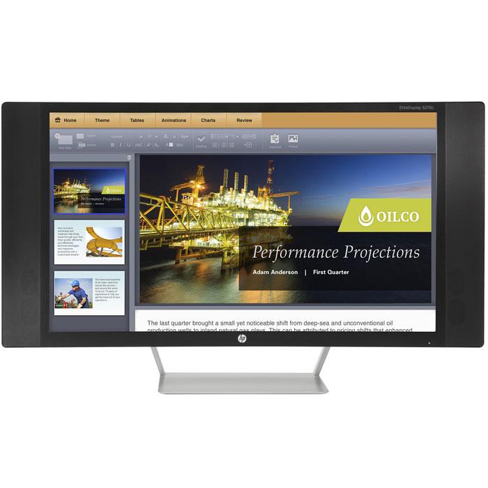 HP EliteDisplay S270c, Black мониторK1M38AAHP Elite S270c — первая серийная модель мониторов HP с изогнутым дисплеем. Экран с диагональю 68,6 см (27) облегчает восприятие периферийных участков изображения и обеспечивает эффект полного погружения. Транслируйте содержимое с ПК и мобильных устройств по-новому.Расширьте свои возможности:Изогнутый экран с разрешением 1920 x 1080 Full HD отличается расширенным полем обзора (по сравнению с плоскими FHD-экранами 16:9 того же размера) и значительно повышает качество зрительного восприятия.Высокое качество изображения при подключении к любому устройству:Благодаря простому подключению через MHL можно мгновенно передать изображение со смартфона или планшета на большой экран, при этом поддерживая мобильное устройство заряженным и готовым к работе.Насладитесь звуками и изображением в полной мере:Широкий угол обзора и четыре динамика DTS Audio с естественным звучанием и усиленными низкими частотами обеспечат полное погружение в мир мультимедиа.