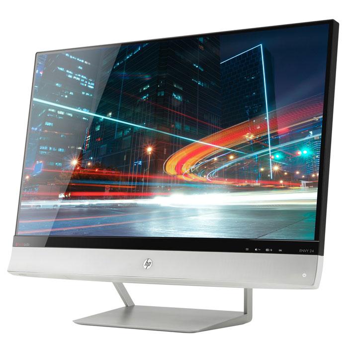 HP Envy 24, монитор (E5H53AA)E5H53AAHP Envy 24 - новый уровень качества мультимедиа: еще больше, еще ярче, еще отчетливее. Удобное подключение MHL позволяет использовать этот монитор в качестве экрана для мобильных устройств. Этот сверхтонкий монитор с IPS-экраном и технологией BeatsAudio обеспечивает насыщенное звучание, потрясающее качество изображения и широкий угол обзора.Большой экран с возможностью зарядки мобильных устройств:Соединение MHL (Mobile High-Definition Link) позволяет передавать изображение с телефона или планшета на монитор и одновременно заряжать подключенное устройство. Ноутбуки и другие устройства подключаются через входы HDMI и VGA. Все кабели входят в комплект поставки.BeatsAudio: самый качественный и насыщенный звук:Встроенная технология BeatsAudio обеспечивает потрясающее качество воспроизведения звука и работает как со встроенными 6-ваттными динамиками, так и с боковым разъемом для наушников.Все для комфортного просмотра:Экран Full HD со светодиодной подсветкой, технологией HP BrightView и повышенной четкостью изображения обеспечивает яркость и насыщенность цвета. IPS-монитор с широким углом обзора и сверхтонкой рамкой NeoBlade поддерживает разрешение до 1920 x 1080 и отличается коэффициентом динамической контрастности 10M:1.Потрясающий вид — даже в выключенном состоянии:Ультрасовременный дизайн: монитор оснащен встроенными динамиками и установлен на уникальной угловой подставке серебристого цвета.