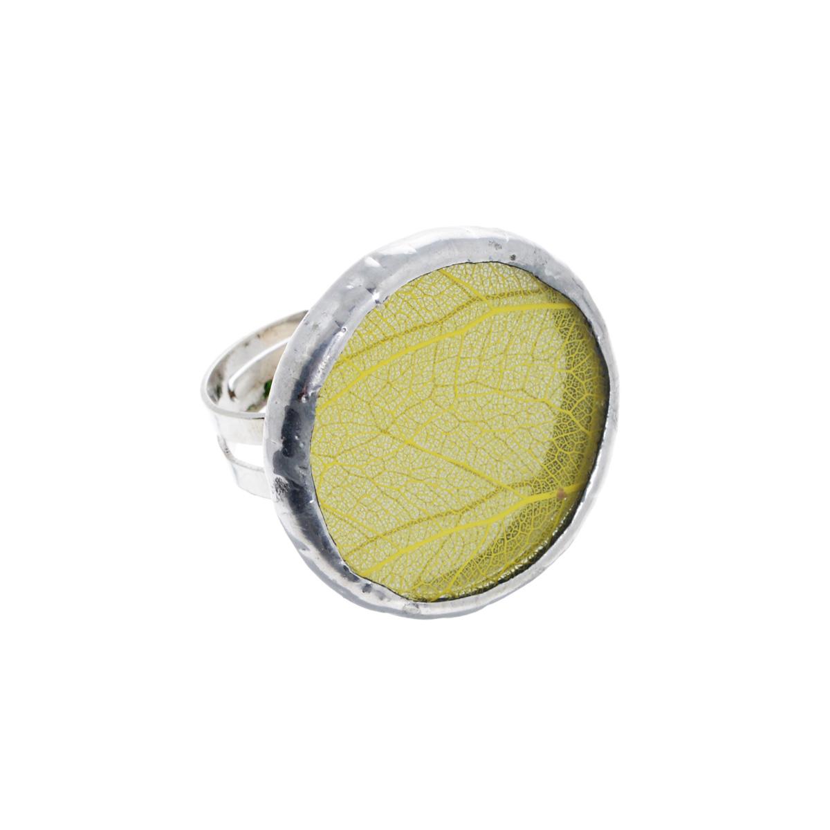 Кольцо Естественный отбор Лист, цвет: желтый. Ч-0063Серьги с подвескамиКольцо Естественный отбор Лист не оставит равнодушной ни одну любительницу необычных аксессуаров. Кольцо выполнено из металла и оснащено круглой стеклянной вставкой, украшенной гербарием желтого листика. Кольцо безразмерное. Это по-настоящему весенний аксессуар - яркий и необыкновенный, способный как по волшебству наполнить воздух солнечными лучами и запахами весны. Прекрасно подойдет для натур неординарных и легких на подъем, которые предпочитают все оригинальное и нестандартное.