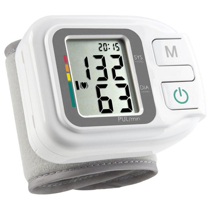 Medisana Запястный тонометр HGH00000814Тонометр на запястье Medisana HGH – компактный прибор с памятью на 60 измерений. Он способен производить расчет среднего значения результатов измерений.В Medisana HGH используется хорошо зарекомендовавший себя осциллометрический способ измерения артериального давления. Тонометр производит измерение кровяного давления на запястье с помощью микропроцессора, который с помощью датчика давления анализирует колебания давления, возникающие на артерии при накачивании и выпуске воздуха из манжеты.Тонометр отображает данные на цифровом экране. Одновременно отображаются артериальное давление, пульс, текущее время и дата. В случае фиксации состояния аритмии прибор отразит ее на экране. Для максимального удобства имеется цветная шкала для оценки результатов измерения в соответствие с нормами Всемирной Организации Здравоохранения (ВОЗ).