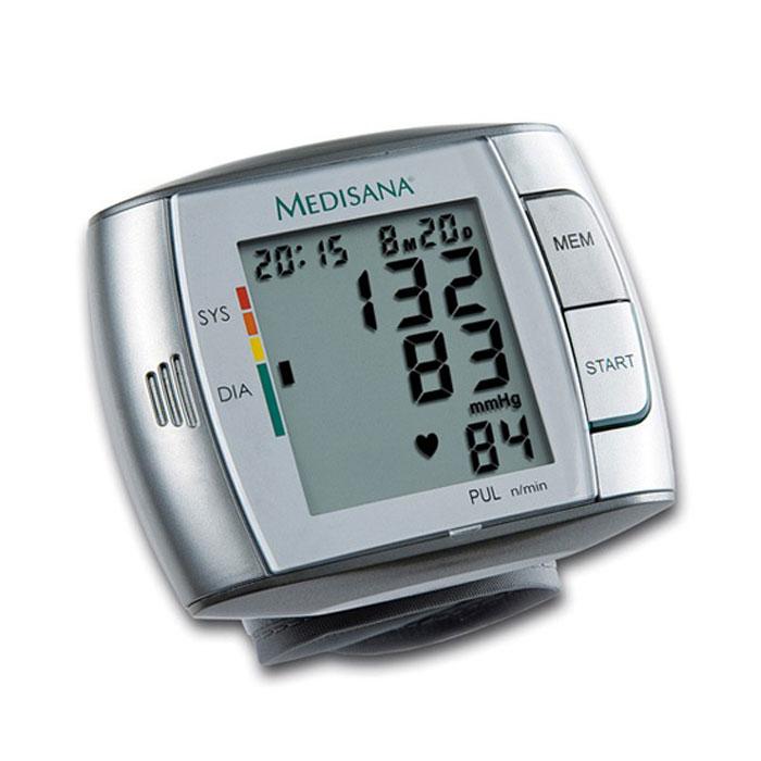 Medisana Запястный тонометр HGC00000811Тонометр на запястье Medisana HGC представляет собой компактный автоматический тонометр с памятью на 60 измерений. В нем применяется самый распространенный в подобных приборах осциллометрический метод измерений кровяного давления.Корпус прибора представляет собой моноблок, а манжета прикреплена непосредственно к тонометру. Манжета имеет размеры 300 x 70 мм и образует периметр 14 x 19,5 см для взрослых. Medisana HGC отображает данные цифровой индикацией на экране. Одновременное отображаются артериальное давление (систолическое и диастолическое), пульс, текущее время и дата. Также имеется цветная шкала для оценки результатов измерения в соответствие с нормами Всемирной Организации Здравоохранения (ВОЗ). Для плохо видящих людей в приборе предусмотрена функция голосового сообщения результатов на русском, немецком, английском, французском, голландском и испанском языках.