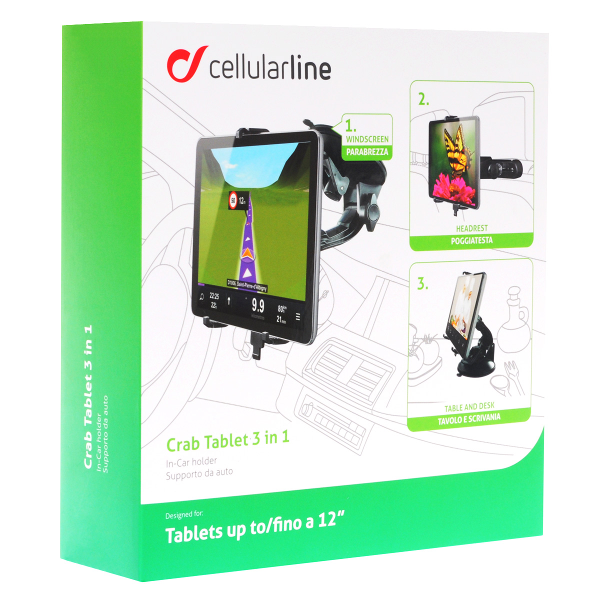 Cellular Line Crab Tablet 3 in 1 автомобильный держатель для планшета до 12  (22681) - Автомобильные держатели