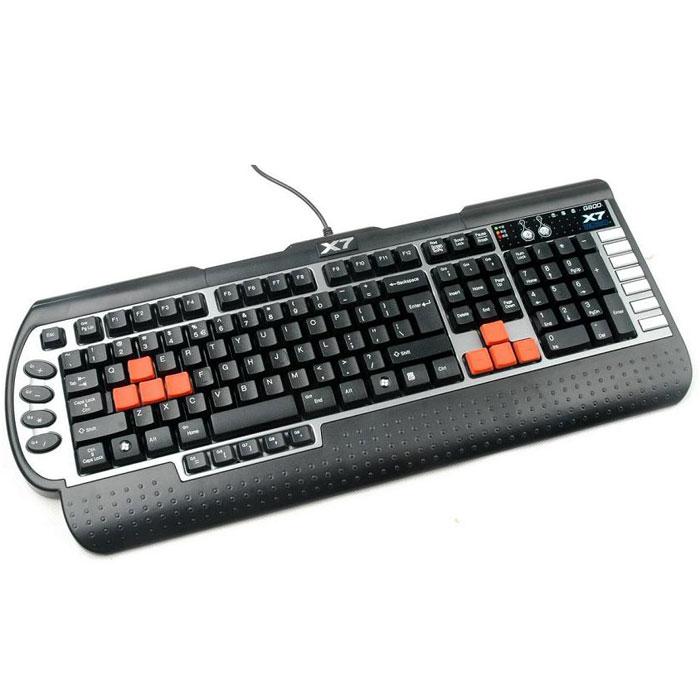 A4Tech G800V, Black клавиатура598106Клавиатура A4Tech G800V оригинального эргономичного дизайна с рядом конструктивных особенностей, помогающих в компьютерных играх. Специальное программное обеспечение OSCAR позволяет создать макросы по своему усмотрению и получить преимущество в игре.Из дополнительных клавиш – 15 для сохранения макросов, 7 дополнительных клавиш для управления мультимедиа-приложениями. 5 режимов сохранения макросов для различных типов игр, а также функция отключения клавиши Windows в играх.Клавиатура оснащена встроенной памятью 96 Кб для сохранения макросовМинимальное время отклика, благодаря частоте 1000ГцВлагозащитное исполнение позволяет мыть клавиатуру и предотвращает её выход из строя при случайном попадании жидкости. Подставка под запястья повышает удобство при работе.
