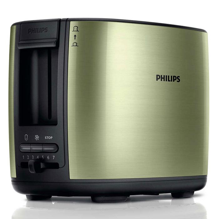 Philips HD2628/10, Olive тостерHD2628/10Тостер Philips HD2628 с отделениями регулируемой ширины для приготовления вкусных тостов. Готовьте равномерно подрумяненные до золотистой корочки тосты разной толщины. Прибор удобен в использовании и оснащен такими полезными функциями, как разморозка и подогрев. Безопасное использование благодаря специальному подъемнику, кнопке отмены и не нагревающейся внешней поверхности.Съемный поддон для крошек для простой очистки:Простая очистка благодаря съемному поддону для крошек.Корпус тостера не нагревается:Корпус тостера Philips не нагревается.Регулятор степени обжаривания:Индивидуальная настройка температурного режима для приготовления вкусных тостов.Система автоматического отключения при застревании ломтика хлеба:Тостер автоматически выключается, если ломтик хлеба застрял внутри.Разморозьте хлеб или подогрейте недавно приготовленные тосты за один прием:Кнопка разморозки на тостере позволяет размораживать и поджаривать хлеб за один прием, а кнопка подогрева — разогревать остывший хлеб или подрумянить уже поджаренный ломтик.Специальный подъемник для безопасного извлечения небольших хлебцев:Благодаря этому можно приподнять небольшие кусочки хлеба и с легкостью извлечь их, не обжигаясь.Регулируемая ширина отделений для тостов с автоцентрированием для идеального обжаривания:Отделения тостера Philips с автоцентрированием вмещают и толстые, и тонкие ломтики, гарантируя равномерное обжаривание7 различных режимов приготовления тостовНескользящие ножки