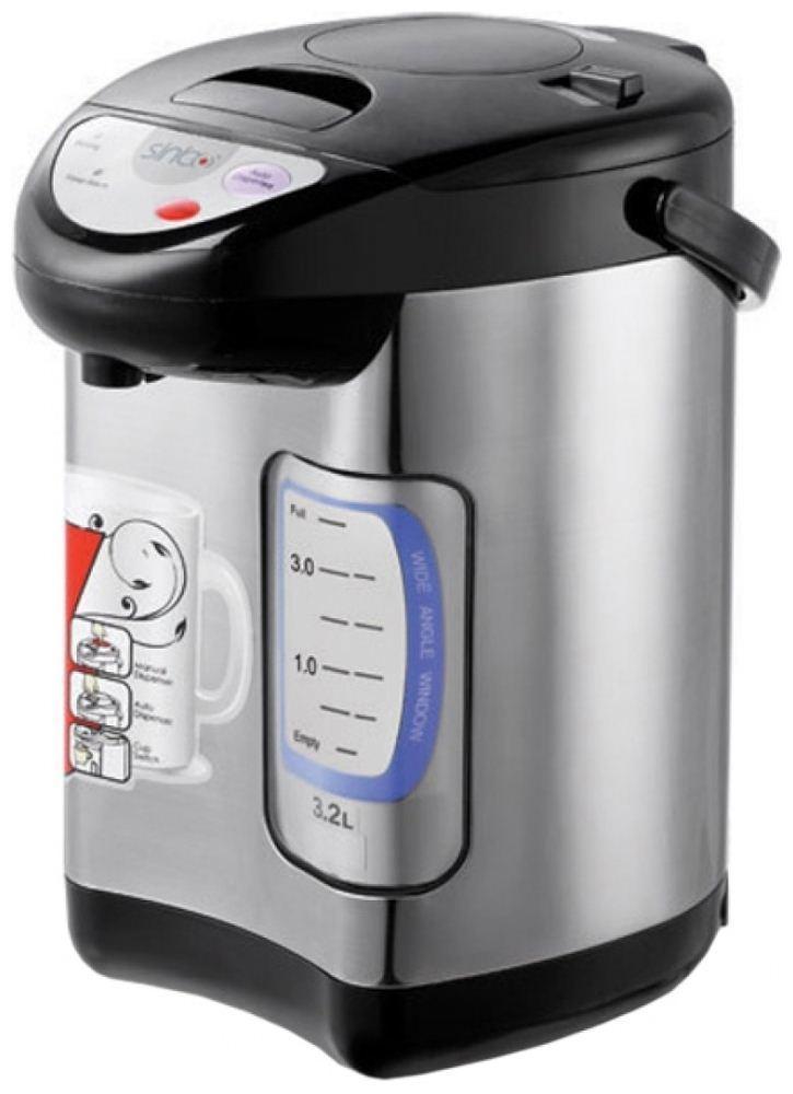 Sinbo SK 2395, Black Silver термопотSK 2395Термопот сочетает в себе чайник и термос. Работает очень просто и быстро. После закипания, вода поддерживается определенной температуры, что позволяет тратить меньше минуты на повторный подогрев воды. Термопот Sinbo SK 2395 в отличие от обыкновенного чайника, имеет объем в 3,2 литра, что позволит за одно кипячение напоить около 13 человек.