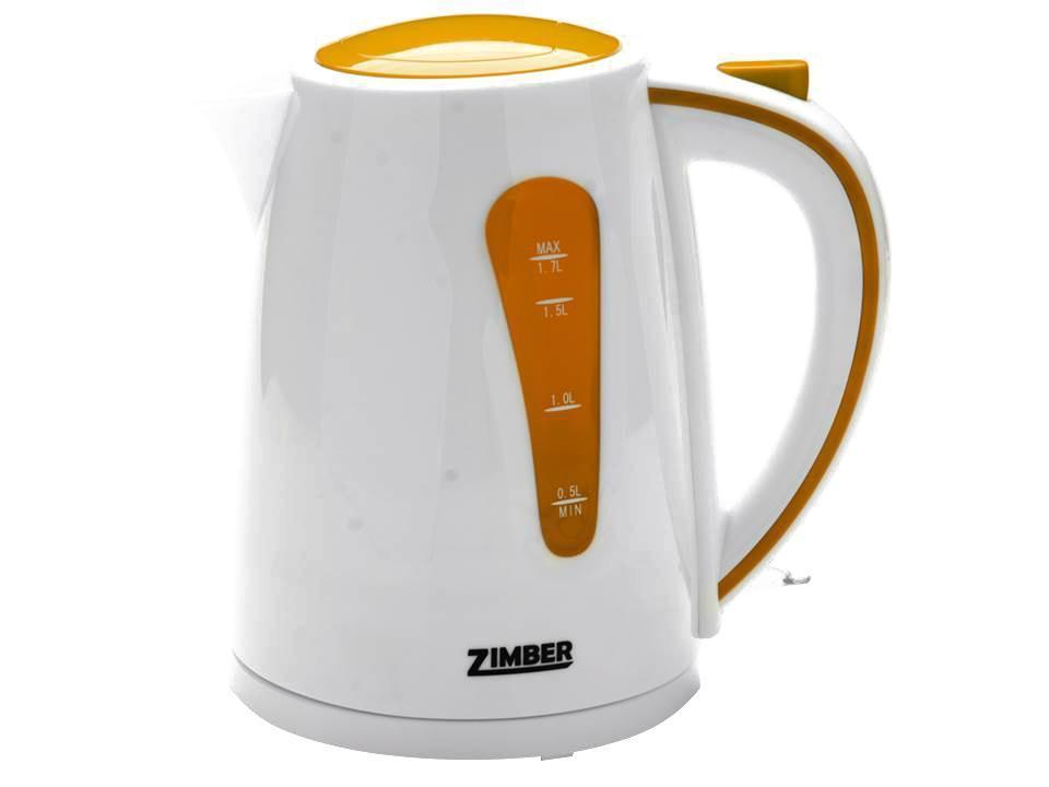 Zimber ZM-10844 электрический чайникZM-10844Быстро вскипятить воду или поддерживать ее горячей в течение долгого времени поможет чайник Zimber. На рынке бытовой техники этот прибор пользуется неизменной популярностью благодаря высокому качеству, безопасности и удобству в использовании.Чайник оснащен скрытым нагревательным элементом, что очень удобно – он более долговечен, чем спираль, и не подвержен образованию накипи. Для безопасного использования в чайниках Zimberпредусмотрены функции автоматического отключения при отсутствии воды или открытии крышки, а также встроенная защита от перегрева.Яркие цвета несомненно порадуют и внесут краски в Вашу кухню!