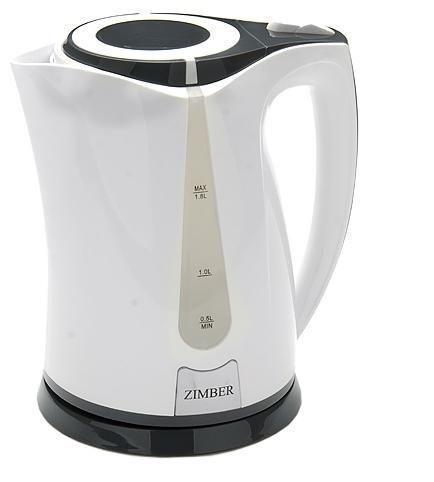 Zimber ZM-10975 электрический чайникZM-10975Электрический чайник Zimber ZM-10975 является прекрасным решением для тех, кто любит устраивать себе перерывы на чашечку чая или кофе. Он прост в управлении и долговечен в использовании. Чайник автоматически выключается при закипании.
