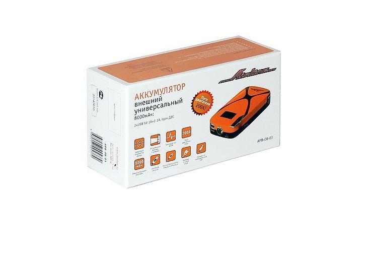 Аккумулятор внешний универсальный Airline, 8000мАч: 2хUSB 5V 1A+2.1A, пуск ДВС (APB-08-03)APB-08-03Аккумулятор внешний универсальный имеет емкость 8000 мАч и предназначен для автономной подзарядки мобильных устройств от порта USB, а также для пуска двигателя транспортных средств с бортовой сетью 12В при разряженной АКБ. Основные преимущества устройства - это универсальность, высокая емкость при малых размерах, качество материалов и оригинальный дизайн. Данная модель оснащена цифровым дисплеем, на котором отображается остаток заряда в процентах.
