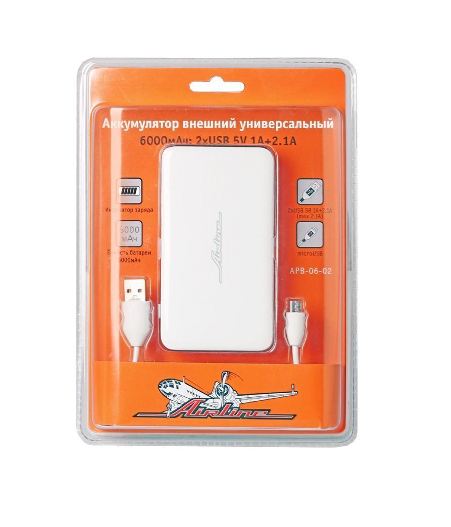 Аккумулятор внешний универсальный Airline, 6000мАч: 2хUSB 5V 1A+2.1A (APB-06-02)APB-06-02Аккумулятор внешний универсальный имеет емкость 6000 мАч и предназначен для автономной подзарядки мобильных устройств от порта USB. Основные преимущества устройства - это универсальность, высокая емкость при малых размерах, качество материалов и оригинальный дизайн.