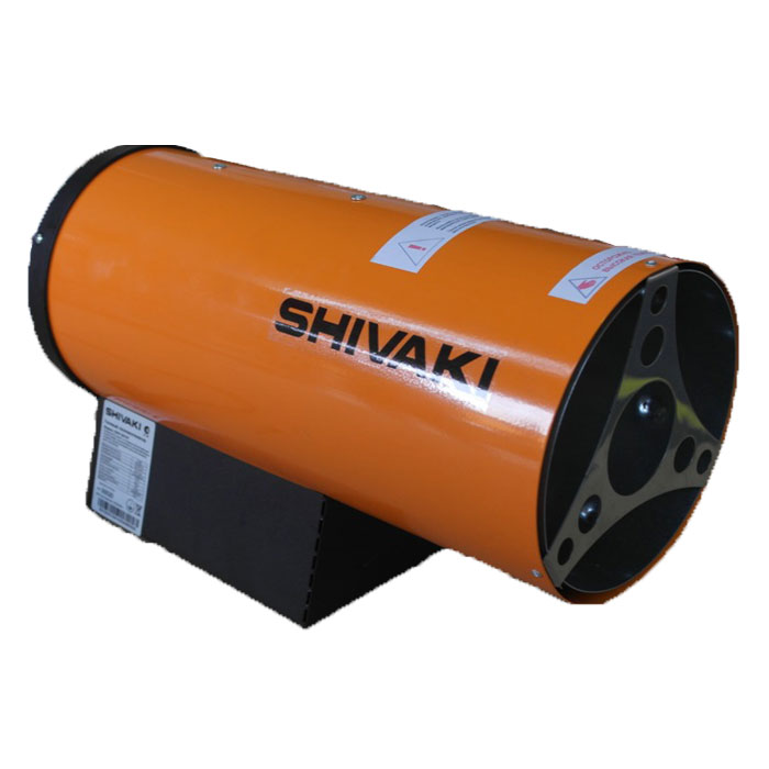 Shivaki SHIF-GS10Y тепловая газовая пушкаSHIF-GS10YТепловая газовая пушка Shivaki SHIF-GS10Y применяется на строительных объектах, для обогрева складских помещений и цехов, в производственной сфере. Прибор не требуют специального монтажа. Он предназначен для обогрева помещений в условиях умеренного климата. Газовая пушка – воздухонагреватель, работающий на газовом топливе. Топливо необходимо для получения горячей атмосферы в камере сгорания, а электроэнергия, подводимая к устройству, необходима для питания вентилятора, нагнетающего воздух и для функционирования автоматики. Газовая пушка Shivaki SHIF-GS10Y прямого нагрева является простой и надежной конструкцией без дымохода. Газовая горелка и газовый тракт разработаны совместно с техническим университетом им. М.Т. Калашникова. В тепловой пушке имеется многоступенчатая система безопасности: электроклапан, термопара, защитный термостат. Корпус газовой пушки имеет антикоррозийное покрытие, все защитные материалы изготовлены из нержавеющей стали. Легкий вес и удобная ручка, термоизоляция и пьезорозжиг обеспечивают удобную работу с прибором.Потребление газа: 0,8 кг/чОбъем отапливаемого помещения: 300 м3Напряжение питания: 220В / 50ГцДавление газа: 1,5 барСистема поджига: пьезаИспользуется баллонный газ (пропан/бутан)Высокий КПД, стремится к 100%Длина кабеля питания: 1,2 мДлина газового шланга: 2 м