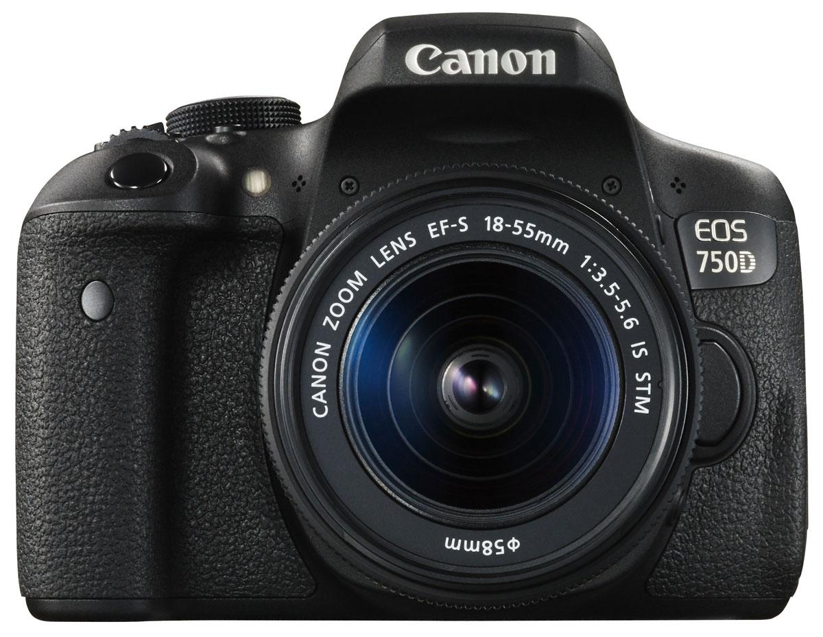 Canon EOS 750D Kit 18-55 IS STM, Black цифровая зеркальная фотокамера canon eos 750d kit 18 135mm is stm