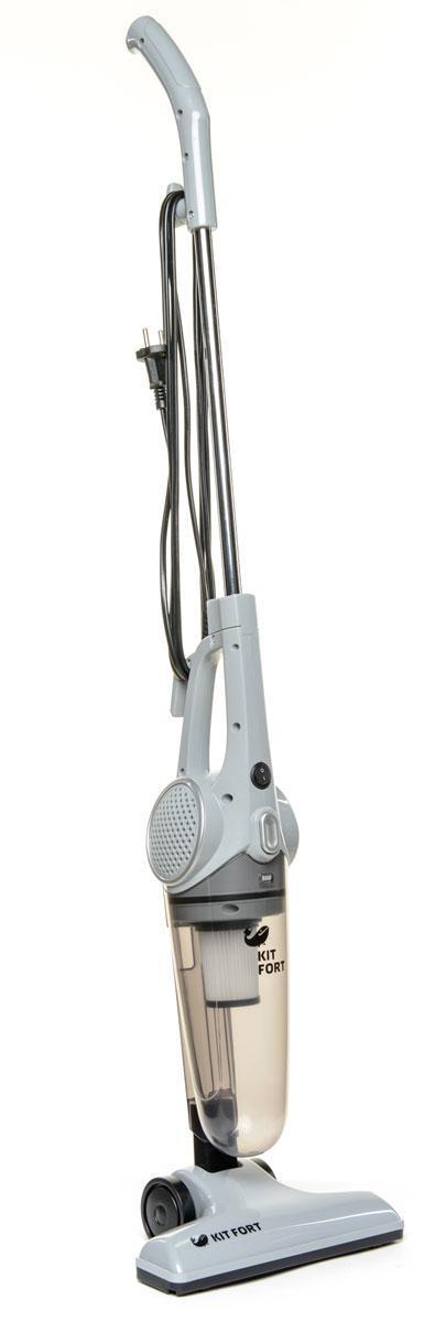 Kitfort KT-509, Gray вертикальный пылесосKT-509Вертикальный пылесос удобен при уборке больших площадей, например, загородных домов и коттеджей. Он незаменим в доме, офисе, отеле, на даче.Конструкция 2 в 1 предусматривает наличие ручного пылесоса, который удобно использовать отдельно. К ручному пылесосу достаточно подсоединить удлинительную ручку, и он превращается в вертикальный пылесосОдно из главных достоинств вертикального пылесоса - это компактность. В отличие от обычного пылесоса, который нужно перед уборкой доставать и собирать, вертикальный пылесос всегда готов к работе. При хранении он занимает гораздо меньше свободного места, а во время работы благодаря своей маневренности может легко вписаться в узкий коридор или комнату, заполненную различными предметами. Для владельцев небольших квартир, которые сталкиваются с проблемой, где же хранить пылесос, приобретение вертикальной модели с вытянутой вверх конструкцией будет оптимальным вариантом.После снятия ручки вертикальный пылесос превращается в ручной, и вы можете продолжить уборку с его помощью. Ручным пылесосом можно, например, пропылесосить углы и плинтусы, обивку мебели, пыль со шкафов (куда обычным пылесосом очень трудно дотянуться из-за ограниченной длины шланга)Пылесос оборудован современным циклонным фильтром, обеспечивающим хорошую очистку, при этом сила всасывания не зависит от наполненности пылесборника