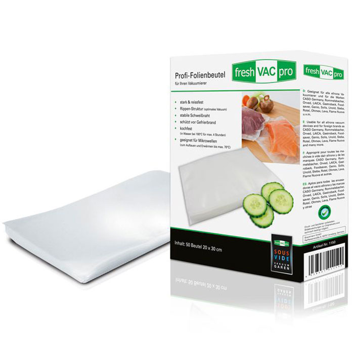 Ellrona FreshVACpro 20х30 пакеты для вакуумного упаковщика, 50 шт.FreshVACpro 20*30Ellrona FreshVACpro 20х30 - 50 специальных прочных пакетов для вакуумного упаковщика с ребристой структурой. Изделие способно выдержать температуру до 70°C в микроволновой печи. Также подходит для су-вид (максимальная температура 95°C, 4 часа).