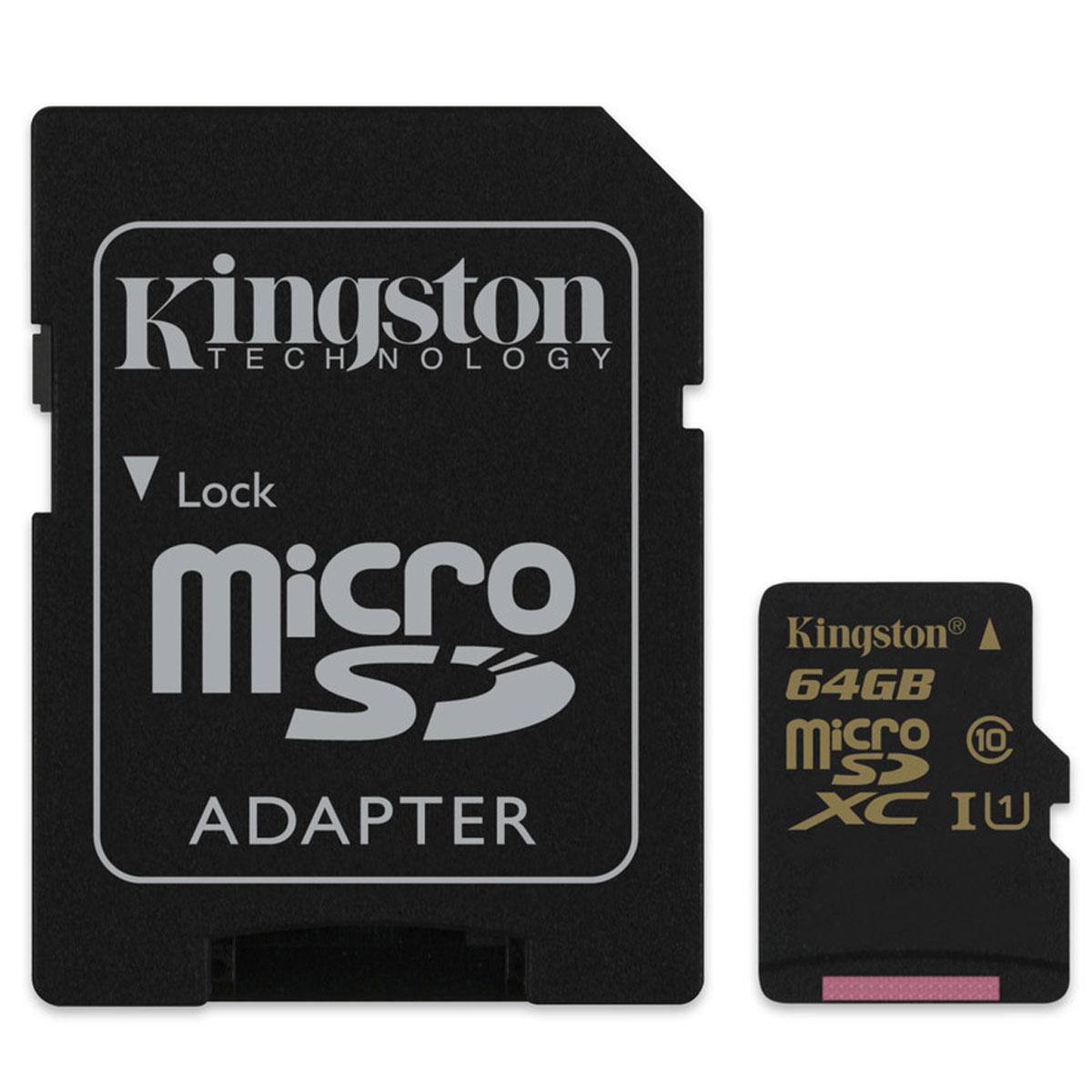 Kingston microSDXC Class 10 UHS-I 64GB карта памяти (SDCA10/64GB)SDCA10/64GBКарты SDCA10 Class 10 UHS-I позволяют хранить большие объемы музыки, видео, изображений, игр в современных мобильныхустройствах. Флэш-карты SDCA10 считывает до 9 раз быстрее и записывает до 4,5 раза быстрее, чем стандартные карты памяти microSDHC/SDXC Class 10. Технология UHS-I U1 позволяет снимать видео в формате Full HD, трехмерное видео и прямые трансляции без задержек, а также выполнять серийную съемку с помощью телефона. Более высокие минимальные скорости записи обеспечивают высокое качество видео без рывков и быструю передачу данных. Карты памяти SDCA10 водонепроницаемы, ударостойки и виброустойчивы, имеют защиту от рентгеновского излучения и от экстремальных температур. Фотографы могут положиться на надежность этих карт памяти при съемке в движении, а также при работе в жестких условиях. Пользователи смартфонов, планшетов и фотоаппаратов могут по достоинству оценить преимущества повышенной скорости передачи и высокую производительность, обеспечиваемую картой памяти SDCA10 Class 10 UHS-I.Внимание: перед оформлением заказа, убедитесь в поддержке Вашим электронным устройством карт памяти данного объема.