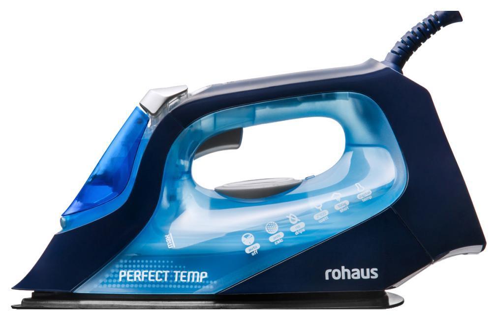 Rohaus RI910B, Blue утюгRI910BПаровой утюг с цифровым термостатом Rohaus выполнен с применением премиальной износостойкой и устойчивой к царапинам подошвы Rodilium, что вкупе с цифровым термостатом гарантирует точный контроль температуры для легкого и быстрого глажения.