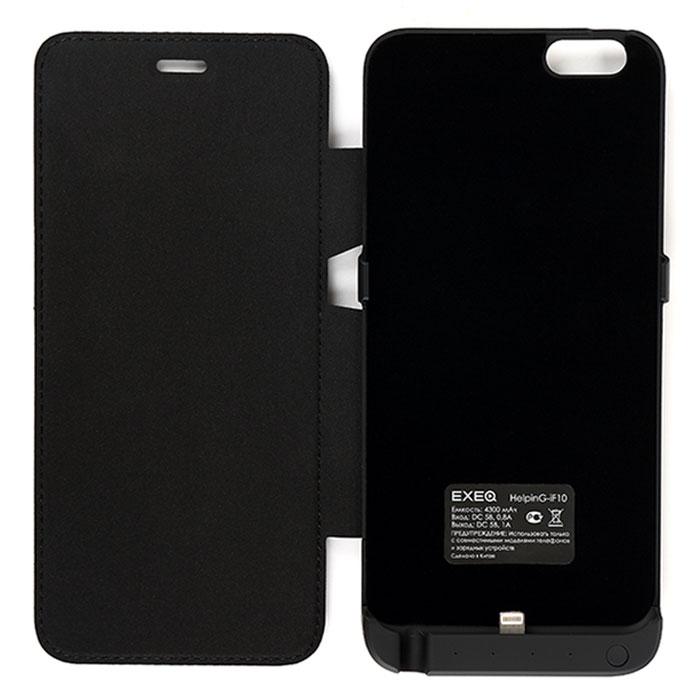 EXEQ HelpinG-iF10 чехол-аккумулятор для iPhone 6 Plus, Black (4300 мАч, флип-кейс)HelpinG-iF10 BLЧехол-аккумулятор EXEQ HelpinG-iF10 - достойная оправа для одного из самых популярных смартфонов на сегодняшний день - iPhone 6 plus. Данный чехол надежно защитит смартфон от любого внешнего воздействия, обеспечит своевременную подзарядку батареи смартфона и элегантно подчеркнет утонченный стиль и дизайн самого смартфона. Exeq HelpinG-iF10 оснащен встроенным аккумулятором емкостью в 4300 мАч - объем, которого хватит более чем на одну полную зарядку телефона. Удобная конструкция чехла прекрасно повторяет все контуры телефона и идеально совмещается со всеми разъемами и выходами. специальная выдвижная ножка-подставка позволит расположить смартфон при просмотре видео, общения по Skype.Зарядка чехла-аккумулятора EXEQ HelpinG-iF10 происходит от зарядного устройства смартфона, причем для зарядки, как чехла, так и телефона, необязательно извлекать телефон из чехла. Достаточно просто подключить зарядное устройство к чехлу и начнется автоматическая зарядка аккумулятора чехла. Если при подключении зарядного устройства к чехлу, нажать кнопку питания на чехле, то начнется зарядка аккумулятора смартфона. Для удобного использования чехол имеет 4 световых индикатора уровня заряда батареи, т.е. каждый из индикаторов показывает 25% емкости аккумулятора чехла EXEQ HelpinG-iF10.