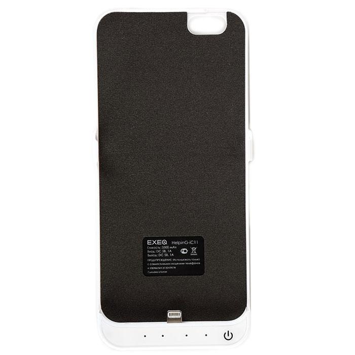 EXEQ HelpinG-iC11 чехол-аккумулятор для iPhone 6, White (3300 мАч, клип-кейс)HelpinG-iC11 WHЧехол-аккумулятор EXEQ HelpinG-iC11 - это отличное решение для тех, кто не может долго обходиться без смартфона. После долгого использования, как известно, современные телефоны быстро разряжаются. С выходом нового iPhone 6-го поколения, данный стильный портативный аккумулятор просто незаменим. С помощью портативного зарядного устройства вы сможете зарядить свой смартфон абсолютно везде: будь то на улице, в общественном транспорте или в любом другом месте, где рядом не оказалось розетки.Чехол-аккумулятор HelpinG-iC11 заряжает ваш телефон до 100 % и автоматически отключается. Заряда хватает на длительное время. Данное зарядное устройство обладает 4-мя индикаторами состояния заряда батареи. Аккумулятор очень легкий, Вам нет необходимости брать с собой зарядные устройства с проводом, которые путаются в сумке. Такой аккумулятор можно использовать несколько дней!Это устройство такое компактное, что поместится в вашем кармане, либо в сумке. Такой чехол-аккумулятор обеспечит надежную защиту вашему телефону от ударов и царапин.