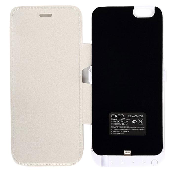 EXEQ HelpinG-iF08 чехол-аккумулятор для iPhone 6, White (3300 мАч, флип-кейс)HelpinG-iF08 WHЧехол-аккумулятор EXEQ HelpinG-iF08 - это отличное решение для тех, кто не может долго обходиться без смартфона. После долгого использования, как известно, современные телефоны быстро разряжаются. С выходом нового iPhone 6-го поколения, данный стильный портативный аккумулятор просто незаменим. С помощью портативного зарядного устройства вы сможете зарядить свой смартфон абсолютно везде: будь то на улице, в общественном транспорте или в любом другом месте, где рядом не оказалось розетки.Чехол-аккумулятор HelpinG-iF08 заряжает ваш телефон до 100 % и автоматически отключается. Заряда хватает на длительное время. Данное зарядное устройство обладает 4-мя индикаторами состояния заряда батареи. Аккумулятор очень легкий, Вам нет необходимости брать с собой зарядные устройства с проводом, которые путаются в сумке. Такой аккумулятор можно использовать несколько дней!Это устройство такое компактное, что поместится в вашем кармане, либо в сумке. Такой чехол-аккумулятор обеспечит надежную защиту вашему телефону от ударов и царапин.