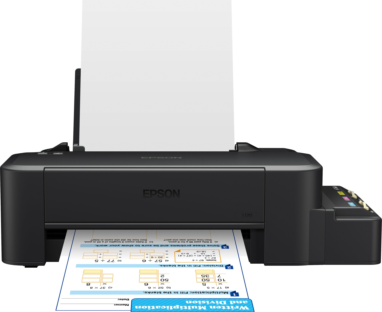 Epson L120 цветной принтерC11CD76302Компактный и доступный по цене принтер с рекордно низкой себестоимостью печатиФабрика печати Epson L120 – самый доступный по цене принтер данной серии. Кроме того он отличается самыми компактными размерами из всей линейки устройств «Фабрика печати» благодаря новой конструкции чернильных емкостей, вмещающих по 40 мл. чернил каждого цвета. За счет отсутствия картриджей Фабрика печати Epson L120 позволяет печатать цветные документы с рекордно низкой себестоимость и является идеальным решением для пользователей, которым нужна максимально экономичная, но вместе с тем качественная печать.Рекордно низкая себестоимость печатиРасходными материалами к Epson L120 служат стандартные контейнеры с чернилами серии C13T664 емкостью по 70 мл. каждый. Таким образом не смотря на то что емкости у данного устройства вмещают по 40 мл. чернил себестоимость печати на нем такая же, как на других 4-цветных моделях серии Фабрика печати Epson – всего 20 коп. за цветной документ формата А4.Новая конструкция чернильных ёмкостейВ Epson L120 используются чернильные емкости нового поколения. Теперь для заправки чернил не требуется отсоединения емкостей от корпуса – все, что вам нужно это открыть герметичную крышку и залить чернила. Кроме того новая конструкция позволяет транспортировать устройство без использования герметичных заглушек и транспортировочного клапана.Высокое качество печати и надежностьБлагодаря уникальной технологии печати Epson Micro Piezo и точному контролю давления в емкостях с чернилами, вы всегда получаете отпечатки превосходного качества. Специально разработанные материалы, на основе которых изготовлены компоненты устройства, обеспечивают долгий срок службы принтера и работу без поломок.Гарантия от производителяПодтверждением высокой надежности Фабрики печати Epson L120 является официальная гарантия от производителя, которая, как и на аналогичные модели (Epson L110/L210), составляет 12 месяцев или 15 000 отпечатков.Компактные размерыEpson L1