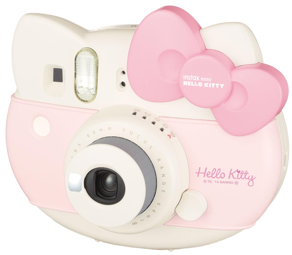 Fujifilm Instax Mini Hello Kitty, Pink фотоаппарат моментальной печати16444064Трогательный Instax Mini Hello Kitty является достойным представителем семьи Instax. В набор включены аксессуары Hello Kitty лимитированной серии: разноцветный ремешок для ношения на плече, кассета Hello Kitty на 10 снимков, а также комплект наклеек с этим милым котиком.В Instax Mini Hello Kitty предусмотрена возможность настройки стандартной экспозиции в 4 уровня: солнечно, облачно, пасмурно и в помещении. В дополнение к этим экспозициям в камере Instax Mini Hello Kitty присутствует High-Key съемка: с ее помощью вы будете получать яркие и теплые снимки, благодаря повышению диафрагмы на 2/3 части. При съемке маленьких предметов используйте объектив макро-съемки и на снимке вы получите их увеличенное изображение. В камеру уже встроено зеркальце для селфи и стандартный комплект идет с макро-линзой для съемки с близких расстояний. Выдержка в обозначении 1/60 секРекомендуемое расстояния при съемке 60 см - 3 мОбъектив FujinonРазмер снимка: 64 х 46 ммЗатвор: 1/60 сек.Режим вспышки: авто