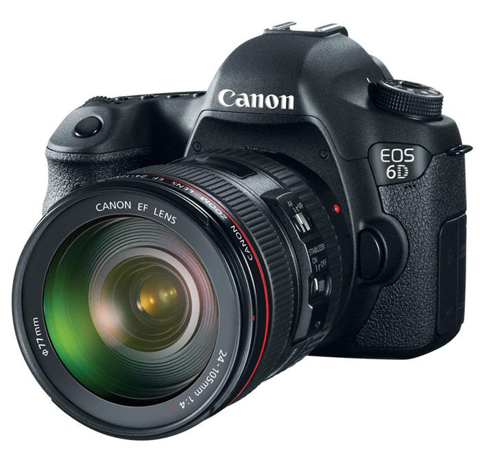 Canon EOS 6D Kit 24-105 IS STM цифровая зеркальная фотокамера8035B108Компактная цифровая зеркальная камера Canon EOS 6D с полнокадровым датчиком на 20,2 мегапикселя. Идеально подходит для портретной съемки и путешествий, обеспечивает точный контроль над глубиной резкости и может использоваться с большим количеством широкоугольных объективов EF.Полнокадровый CMOS-датчик на 20,2 мегапикселя:Сердце камеры EOS 6D - полнокадровый CMOS-датчик на 20,2 мегапикселя и мощный процессор обработки изображений DIGIC 5+. Они позволяют делать безупречно четкие фотографии и передавать мельчайшие детали. Естественность цветопередачи дополнена плавностью переходов полутонов.Преимущества полного кадра:Теперь у Вас есть возможность пользоваться разнообразными широкоугольными объективами EF и открыть для себя совершенно иное видение пейзажной фотографии, фотографии интерьеров и уличной фотографии. Усиленный контроль над глубиной резкости, обеспечиваемый полнокадровым датчиком, позволит Вам делать еще более впечатляющие портреты.Создана для путешествий:Достаточно легкая и прочная камера идеально подходит для фотографирования в путешествии. Простая и интуитивная эргономика камеры EOS 6D позволяет использовать ее в любых условиях.Высокое качество изображения при низкой освещенности:Даже в условиях низкой освещенности камера EOS 6D позволяет делать фотографии превосходного качества. Диапазон чувствительности ISO от ISO 100 до ISO 25 600 (с возможностью расширения до L:50, H1:51 200, H2:102 400) и 11-точечная система фокусировки позволяет делать снимки в условиях освещенности до -3EV. Такой чувствительности хватит даже для съемки при свете луны.Широкие возможности выбора композиции:Четкий полнокадровый видоискатель камеры EOS 6D позволяет интуитивно выбирать композицию. ЖК-экран Clear View II 7,6 см (3 дюйма) на 1 040 000 точек превращает съемку фотографий в режиме ЖКД-видоискателя в истинное удовольствие.Творческие функции:Режим расширенного динамического диапазона (HDR) позволяет сохранять 