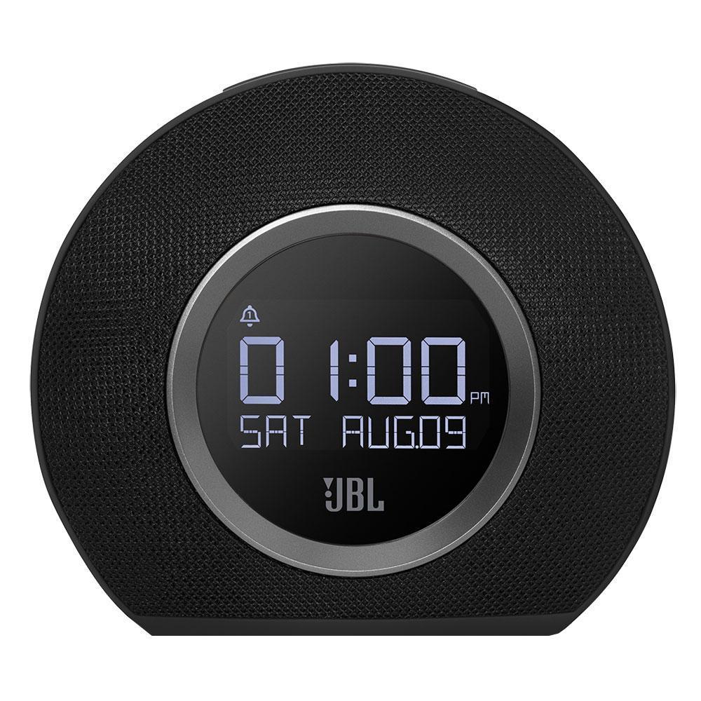 JBL Horizon, Black портативная акустическая системаJBLHORIZONBLKEUДва будильникаВ Horizon встроены два независимых будильника. Просыпаться можно благодаря трем предустановленными сигналами, FM приемнику, музыке на вашем телефоне или традиционному сигналу будильника. JBL Horizon предлагает пять программируемых пресетов FM радио, а также может передавать музыку без проводов с любого телефона или планшета с поддержкой Bluetooth. Компактный дизайн позволит разместить устройство в любом помещении, оно прекрасно впишется в любой интерьер. Два USB порта обеспечивают быструю зарядку любых подключенных устройств. Большая кнопка Snooze/Light в сочетании с четким ЖК-дисплеем делает использование JBL Horizon очень простым и понятным, а встроенная система резервного питания гарантирует, что вы всегда будете просыпаться, даже во время отключения электроэнергии.