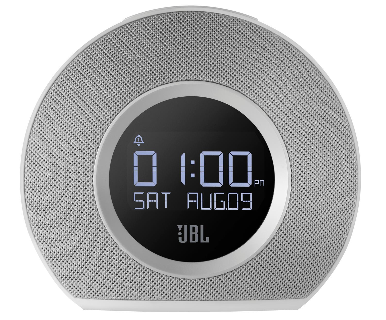 JBL Horizon, White портативная акустическая системаJBLHORIZONWHTEUДва будильникаВ Horizon встроены два независимых будильника. Просыпаться можно благодаря трем предустановленными сигналами, FM приемнику, музыке на вашем телефоне или традиционному сигналу будильника. JBL Horizon предлагает пять программируемых пресетов FM радио, а также может передавать музыку без проводов с любого телефона или планшета с поддержкой Bluetooth. Компактный дизайн позволит разместить устройство в любом помещении, оно прекрасно впишется в любой интерьер. Два USB порта обеспечивают быструю зарядку любых подключенных устройств. Большая кнопка Snooze/Light в сочетании с четким ЖК-дисплеем делает использование JBL Horizon очень простым и понятным, а встроенная система резервного питания гарантирует, что вы всегда будете просыпаться, даже во время отключения электроэнергии.