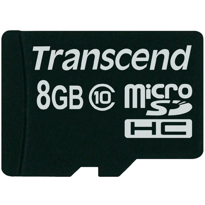 Transcend microSDHC Class 10 8GB карта памяти (TS8GUSDC10)TS8GUSDC10Карта памяти Transcend microSDHC Class 10 обладает отличными рабочими характеристиками при размере всего лишь 1/10 от размера SD карты. Продукт отличает необычайная скорость класса 10, представленная Ассоциацией SD карт в качестве новых характеристик SD 3.0, скорость записи 10 MБ/сек. гарантирована. Карта памяти microSDHC класса 10 с высокими скоростными характеристиками, большим размером памяти до 32 ГБ при минимальном размере особенно рекомендована для использования в современных мобильных устройствах.Все microSDHC карты прошли строгие тестирования на совместимость и надежность, и имеют ограниченную гарантию от компании Transcend. Каждая карта снабжена встроенным ECC (корректирующим кодом), который отвечает за автоматические обнаружение и устранение ошибок в процессе передачи данных.Внимание: перед оформлением заказа убедитесь в поддержке вашим электронным устройством карт памяти данного объема.