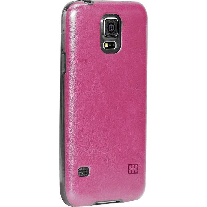 Promate Lanko-S5 чехол-накладка для Samsung Galaxy S5, Pink00007890Promate Lanko-S5 - это элегантная накладка, изготовленная из высококачественного поликарбоната и с ручной отделкой из кожи, которая защищает ваш Samsung Galaxy S5. Ее прочный корпус крепится на заднюю стенку смартфона и защищает его от ударов и царапин. Технические отверстия вырезаны максимально точно и обеспечивают неограниченный доступ к портамкнопкам вашего телефона.