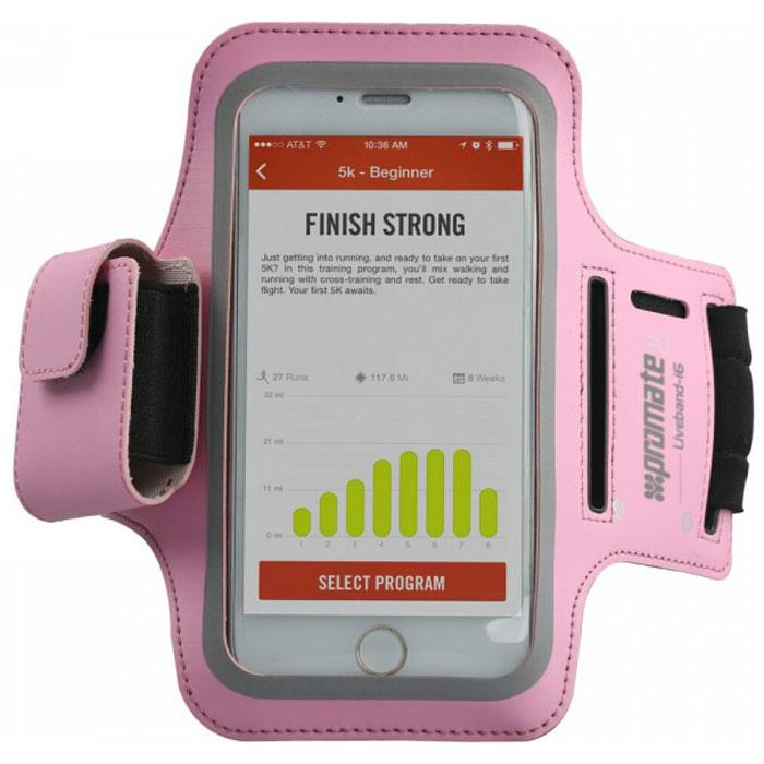 Promate LiveBand-i6 чехол для iPhone 6, Pink00008271Promate LiveBand-i6 - аксессуар, который должен иметь каждый владелец iPhone 6, который регулярно занимается спортом или ведет активный образ жизни. В спортивном зале, на беговой дорожке, при игре в теннис ваш телефон будет всегда рядом, не потеряется и не упадет. Этот легкий и настраиваемый наплечный чехол обеспечивает отличную защиту iPhone 6 от случайных падений, сколов, грязи и капель. Сделанный из легкого, дышащего неопрена этот чехол позволяет вашему телефону быть рядом в любой ситуации.