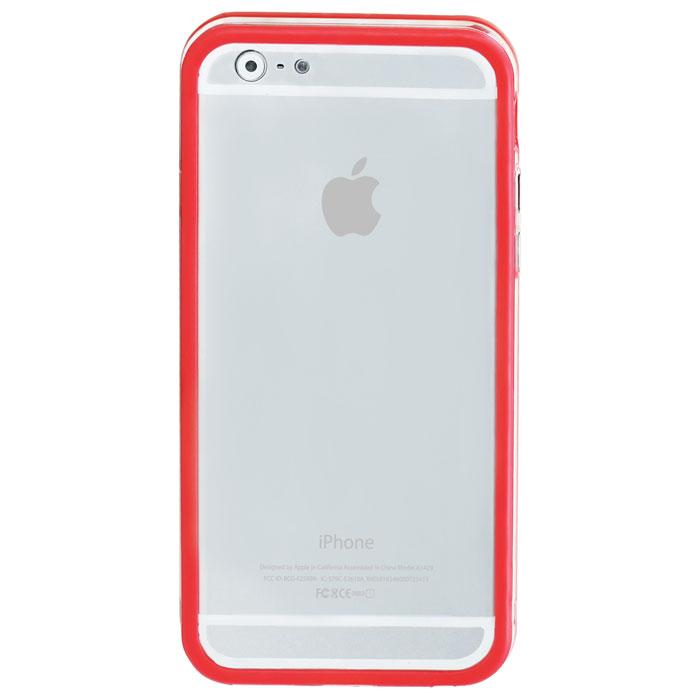 Promate Bump-i6 чехол-накладка для iPhone 6, Red00008240Promate Bump-i6 - потрясающий пример минималистского подхода к качественной защите. Внешний край бампера красиво обрамляет корпус iPhone 6. Ничего лишнего - только жесткая оснастка и прорезиненный бампер с ультра-мягким покрытием. Точные технологические вырезы обеспечивают полный доступ ко всем кнопкам и разъемам.