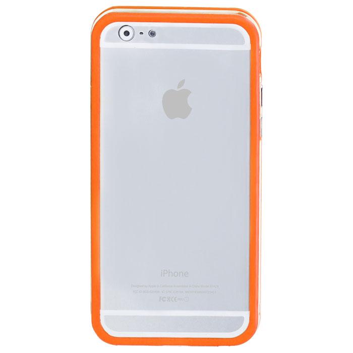 Promate Bump-i6 чехол-накладка для iPhone 6, Orange00008239Promate Bump-i6 - потрясающий пример минималистского подхода к качественной защите. Внешний край бампера красиво обрамляет корпус iPhone 6. Ничего лишнего - только жесткая оснастка и прорезиненный бампер с ультра-мягким покрытием. Точные технологические вырезы обеспечивают полный доступ ко всем кнопкам и разъемам.