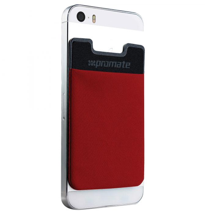 Promate Cardo Кард Холдер для смартфонов, Red00007629Promate Cardo - это кармашек на специальной, запатентованной 3М-клейкой основе, который крепится на заднюю крышку вашего смартфона. Легкое решение, объединяющее все необходимые в повседневной жизни аксессуары в одном месте. Не нужно брать с собой отдельно кошелек, визитницу и раскладывать по карманам. Promate Cardo упорядочит все!