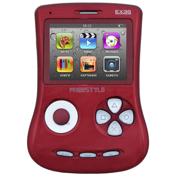 Игровая консоль EXEQ FreeStyle 2,7 (красная)MP-1002_красныйExeq Freestyle - это игровая приставка с богатыми мультимедийными возможностями, позволяющая играть в игры таких форматов, как NES (Dendy), SMD (Mega Drive) и GBA (GameBoy Advance), просматривать фильмы, слушать музыку, радио, читать книги. Оригинальная и стильная форма корпуса, воплощенная в качественном глянцевом пластике, яркий цветной экран, встроенная камера, AV-выход и многие другие приятные особенности приставки не оставят равнодушным к ней ни детей, ни взрослых.Неповторимый дизайн и яркие цвета.Exeq Freestyle - портативная игровая консоль с уникальным дизайном корпуса. В отличие от большинства современных портативных консолей Exeq Freestyle имеет вертикальное расположение - дисплей консоли расположен в верхней части корпуса, а все элементы управления в нижней - под экраном. Удачно дополняет дизайн приставки плавная обтекаемая форма, закругленные кнопки, и глянцевая поверхность. Также на выбор предлагается 8 вариантов цветового исполнения корпуса: белый, черный, синий, красный, желтый, розовый, фиолетовый, зеленый. Яркие цвета приставок удачно дополняет перламутровый эффект.Игровая составляющая.Exeq Freestyle поддерживает игры от Dendy, Sega, Super Nintendo и Game Boy Advance. Консоль отлично воспроизводит двухмерные игры различных жанров, а также трехмерные с улучшенной графикой. В качестве бонуса на приставке уже установлено 700 самых популярных игр каждой из поддерживаемых платформ. Однако при желании Exeq Freestyle легко можно подключить к компьютеру и пополнить коллекцию новыми играми. Для хранения игр приставка имеет 4 Gb встроенной памяти, а также поддерживает карты формата Micro SD.Просмотр видео.Exeq Freestyle оснащен ярким и контрастным дисплеем с диагональю в 2,7 дюйма (68 мм), этого вполне достаточно для просмотра видео, особенно если вы хотите скоротать время в дороге или на отдыхе: компактные размеры консоли позволят удобно разместить ее на ладони во время просмотра. Exeq Freestyle спосо