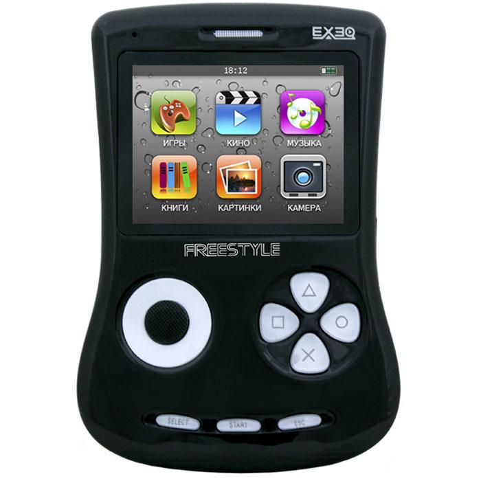 Игровая консоль EXEQ FreeStyle 2,7 (черная)MP-1002_черныйExeq Freestyle - это игровая приставка с богатыми мультимедийными возможностями, позволяющая играть в игры таких форматов, как NES (Dendy), SMD (Mega Drive) и GBA (GameBoy Advance), просматривать фильмы, слушать музыку, радио, читать книги. Оригинальная и стильная форма корпуса, воплощенная в качественном глянцевом пластике, яркий цветной экран, встроенная камера, AV-выход и многие другие приятные особенности приставки не оставят равнодушным к ней ни детей, ни взрослых.Неповторимый дизайн и яркие цвета.Exeq Freestyle - портативная игровая консоль с уникальным дизайном корпуса. В отличие от большинства современных портативных консолей Exeq Freestyle имеет вертикальное расположение - дисплей консоли расположен в верхней части корпуса, а все элементы управления в нижней - под экраном. Удачно дополняет дизайн приставки плавная обтекаемая форма, закругленные кнопки, и глянцевая поверхность. Также на выбор предлагается 8 вариантов цветового исполнения корпуса: белый, черный, синий, красный, желтый, розовый, фиолетовый, зеленый. Яркие цвета приставок удачно дополняет перламутровый эффект.Игровая составляющая.Exeq Freestyle поддерживает игры от Dendy, Sega, Super Nintendo и Game Boy Advance. Консоль отлично воспроизводит двухмерные игры различных жанров, а также трехмерные с улучшенной графикой. В качестве бонуса на приставке уже установлено 700 самых популярных игр каждой из поддерживаемых платформ. Однако при желании Exeq Freestyle легко можно подключить к компьютеру и пополнить коллекцию новыми играми. Для хранения игр приставка имеет 4 Gb встроенной памяти, а также поддерживает карты формата Micro SD.Просмотр видео.Exeq Freestyle оснащен ярким и контрастным дисплеем с диагональю в 2,7 дюйма (68 мм), этого вполне достаточно для просмотра видео, особенно если вы хотите скоротать время в дороге или на отдыхе: компактные размеры консоли позволят удобно разместить ее на ладони во время просмотра. Exeq Freestyle способе