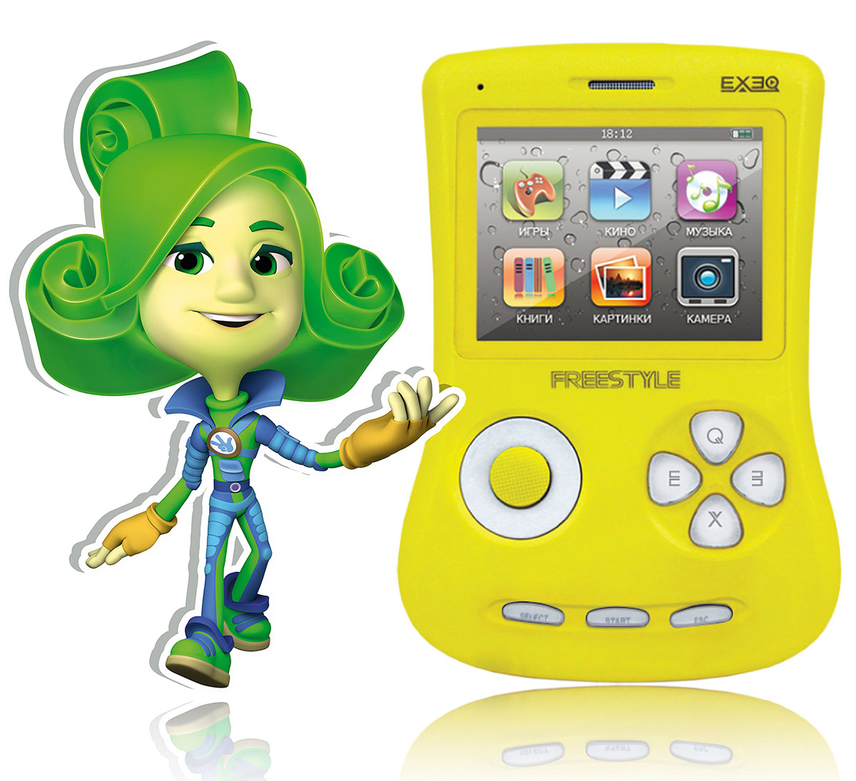 Портативная игровая приставка EXEQ ФикСи FreeStyle 2,7 (желтая)MP-1002 FX_желтыйИгровая Фикси-приставка Freestyle - это универсальная игровая приставка с оригинальным дизайном, LCD-дисплеем в 2,7 дюймов, встроенной памятью на 4 Гб и богатыми мультимедийными возможностями! Фикси-приставка воспроизводит любые игрушки на 8, 16 и 32 бита, которые можно свободно и бесплатно скачать из интернета или же довольствоваться 700 встроенными играми. А когда игры наскучат, Freestyle развлечет вас музыкой (поддерживаются MP3, FLAC, APE и другие), видео (в большинстве популярных форматов, включая MP4, AVI) или чтением электронных книг. В арсенале приставки предусмотрены даже FM-радио и 1,3 Мпикс камера! И еще один немаловажный аргумент - наличие видеовыхода на телевизор с RCA-кабелем в комплекте! Также игровая Фикси-приставка Freestyle имеет специальный пакет приложений от Фиксиков: 12 серий сериала Фиксики (4 новинки), 6 видеоклипов и несколько Фиксипелок.В январе 2015 г. специальный пакет приложений от Фиксиков пополнила 16-ти битная игра под одноименным названием - Фиксики! Стоит отметить, что новые приключения популярных героев в 16-битном формате доступны только на Фикси-приставках ГК Проявляй эмоции. Одной из таких приставок является Exeq Freestyle. Дисплей: 2,7 LCD с разрешением 320х240 точекВстроенная память: 4 ГбИсточник питания: Аккумулятор Lion емкостью 900 мАчВремя работы без подзарядки: около 6 часовРазъемы: AV-выход (видео + аудио), PAL/NTSC, выход для наушников, USBКарты памяти: MicroSD, объемом до 16 ГбЗарядка: через сетевой адаптер или от ПК через USBАудио: MP3, WMA, WMA, AAC, FLAC, APE и другие музыкальные форматыВидео: RRM, RMVB, AVI, FLV, 3GP, MP4, ASF, WAV, DAT, MPG и другие видео форматыИзображения: JPEG, BMP, GIF, PNG, полноэкранный просмотр, слайд-шоуЭлектронная книга: ТХТИгры: 8, 16, 32 бит, NES, SMD, GBA, GBC, GB, SMC, BINКамера: фото/видео-камера, 1,3 МпиксПриложения: предустановленные игры, календарь, часы, калькулятор, секундомер