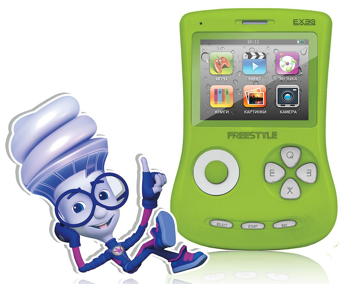 Портативная игровая приставка EXEQ ФикСи FreeStyle 2,7 (зеленая)MP-1002 FX_зеленыйИгровая Фикси-приставка Freestyle - это универсальная игровая приставка с оригинальным дизайном, LCD-дисплеем в 2,7 дюймов, встроенной памятью на 4 Гб и богатыми мультимедийными возможностями! Фикси-приставка воспроизводит любые игрушки на 8, 16 и 32 бита, которые можно свободно и бесплатно скачать из интернета или же довольствоваться 700 встроенными играми. А когда игры наскучат, Freestyle развлечет вас музыкой (поддерживаются MP3, FLAC, APE и другие), видео (в большинстве популярных форматов, включая MP4, AVI) или чтением электронных книг. В арсенале приставки предусмотрены даже FM-радио и 1,3 Мпикс камера! И еще один немаловажный аргумент - наличие видеовыхода на телевизор с RCA-кабелем в комплекте! Также игровая Фикси-приставка Freestyle имеет специальный пакет приложений от Фиксиков: 12 серий сериала Фиксики (4 новинки), 6 видеоклипов и несколько Фиксипелок.В январе 2015 г. специальный пакет приложений от Фиксиков пополнила 16-ти битная игра под одноименным названием - Фиксики! Стоит отметить, что новые приключения популярных героев в 16-битном формате доступны только на Фикси-приставках ГК Проявляй эмоции. Одной из таких приставок является Exeq Freestyle. Дисплей: 2,7 LCD с разрешением 320х240 точекВстроенная память: 4 ГбИсточник питания: Аккумулятор Lion емкостью 900 мАчВремя работы без подзарядки: около 6 часовРазъемы: AV-выход (видео + аудио), PAL/NTSC, выход для наушников, USBКарты памяти: MicroSD, объемом до 16 ГбЗарядка: через сетевой адаптер или от ПК через USBАудио: MP3, WMA, WMA, AAC, FLAC, APE и другие музыкальные форматыВидео: RRM, RMVB, AVI, FLV, 3GP, MP4, ASF, WAV, DAT, MPG и другие видео форматыИзображения: JPEG, BMP, GIF, PNG, полноэкранный просмотр, слайд-шоуЭлектронная книга: ТХТИгры: 8, 16, 32 бит, NES, SMD, GBA, GBC, GB, SMC, BINКамера: фото/видео-камера, 1,3 МпиксПриложения: предустановленные игры, календарь, часы, калькулятор, секундомер