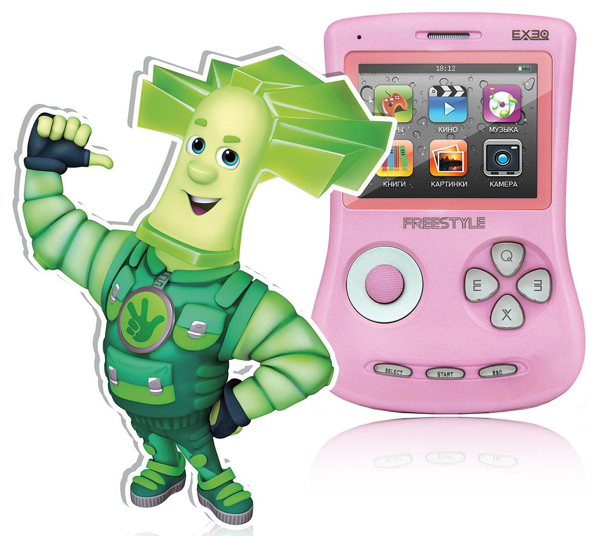 Портативная игровая приставка EXEQ ФикСи FreeStyle 2,7 (розовая)MP-1002 FX_розовыйИгровая Фикси-приставка Freestyle - это универсальная игровая приставка с оригинальным дизайном, LCD-дисплеем в 2,7 дюймов, встроенной памятью на 4 Гб и богатыми мультимедийными возможностями! Фикси-приставка воспроизводит любые игрушки на 8, 16 и 32 бита, которые можно свободно и бесплатно скачать из интернета или же довольствоваться 700 встроенными играми. А когда игры наскучат, Freestyle развлечет вас музыкой (поддерживаются MP3, FLAC, APE и другие), видео (в большинстве популярных форматов, включая MP4, AVI) или чтением электронных книг. В арсенале приставки предусмотрены даже FM-радио и 1,3 Мпикс камера! И еще один немаловажный аргумент - наличие видеовыхода на телевизор с RCA-кабелем в комплекте! Также игровая Фикси-приставка Freestyle имеет специальный пакет приложений от Фиксиков: 12 серий сериала Фиксики (4 новинки), 6 видеоклипов и несколько Фиксипелок.В январе 2015 г. специальный пакет приложений от Фиксиков пополнила 16-ти битная игра под одноименным названием - Фиксики! Стоит отметить, что новые приключения популярных героев в 16-битном формате доступны только на Фикси-приставках ГК Проявляй эмоции. Одной из таких приставок является Exeq Freestyle. Дисплей: 2,7 LCD с разрешением 320х240 точекВстроенная память: 4 ГбИсточник питания: Аккумулятор Lion емкостью 900 мАчВремя работы без подзарядки: около 6 часовРазъемы: AV-выход (видео + аудио), PAL/NTSC, выход для наушников, USBКарты памяти: MicroSD, объемом до 16 ГбЗарядка: через сетевой адаптер или от ПК через USBАудио: MP3, WMA, WMA, AAC, FLAC, APE и другие музыкальные форматыВидео: RRM, RMVB, AVI, FLV, 3GP, MP4, ASF, WAV, DAT, MPG и другие видео форматыИзображения: JPEG, BMP, GIF, PNG, полноэкранный просмотр, слайд-шоуЭлектронная книга: ТХТИгры: 8, 16, 32 бит, NES, SMD, GBA, GBC, GB, SMC, BINКамера: фото/видео-камера, 1,3 МпиксПриложения: предустановленные игры, календарь, часы, калькулятор, секундомер