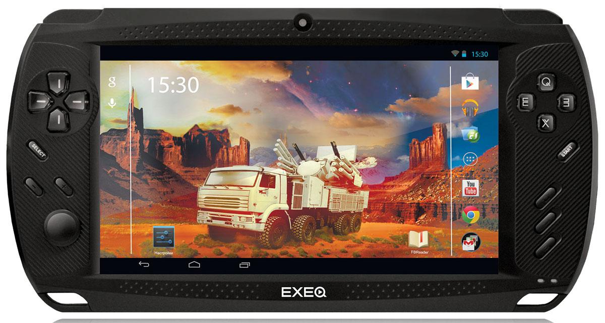 Игровая консоль EXEQ Get-2 7 (Android), BlackMP-1027Exeq Get 2 - мощная игровая консоль на базе четырехъядерного процессора и под управлением OS Android 4.2! Серьезная внутренняя начинка консоли способна обеспечить оперативное быстродействие самым требовательным приложениям и наиболее мощным играм последнего поколения! Загружайте фантастические сюжеты «Modern Combat 4», «NOVA 3», «Asphalt 8» и наслаждайтесь виртуальными приключениями на четком 7-ми дюймовом сенсорном дисплее в любое время и в любом месте. Надоело играть экранными кнопками – переведите все сенсорное управление на аппаратное, благодаря функции «Virtual key mapping». Для любителей интернет-серфинга консоль оборудована модулем Wi-fi, а при помощи кабеля OTG к Exeq Get 2 можно также подключить и модуль 3G! Для общения в чатах приставка оборудована 2-мя камерами – фронтальной в 0,3 Мпикс и задней в 2 Мпикс. Кроме игровых возможностей Exeq Get 2 имеет прекрасный мультимедийный потенциал: музыка, фильмы в HD-качестве, электронные книги. Exeq Get 2 – портативный медиа центр с потрясающей оперативностью!Четырехъядерные мощности.Exeq Get 2 работает на базе четырехъядерного процессора RK3188 с тактовой частотой 1.6 ГГц и имеет 1 Гб оперативной памяти. Серьезная внутренняя начинка способна обеспечить оперативное быстродействие самым требовательным приложениям, мощным играм последнего поколения, а также прекрасно справляться с режимом мультизадачности! Благодаря мощному аккумулятору автономной работы Exeq Get 2 хватит на работу около 4 часов подряд. Для хранения файлов консоль имеет 8 Гб внутренней памяти, а также слот для карт памяти формата MicroSD объемом до 32 Гб. Exeq Get 2 – оперативность даже во время режима мультизадачности!OS Android 4.2.Консоль Exeq Get 2 работает под управлением OS Android 4.2 – версия, которая позволяет не только обеспечить высокую производительность в работе приложений консоли, но и повысить автономность работы. Среди прочих приятных особенностей OS Android 4.2 – возможность создания