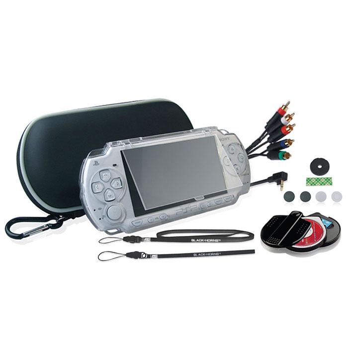 Black Horns Kit 8 in 1 набор аксессуаров для Sony PSP 2000/3000BH-PSP02621H(R)Набор аксессуаров Black Horns Kit 8 in 1 для Sony PSP 2000/3000. В комплект входят:Легкий противоударный чехол, выполненный из двухслойного нейлона. Такой чехол защитит вашу консоль от тряски, ударов и пыли. Съемный карабин позволит надежно закрепить чехол на рюкзаке, сумке или ремне. Чехол имеет отделения для PSP, UMD-дисков и других аксессуаров.Защитный корпус из качественного поликарбоната. Надежно защитит вашу консоль не только во время переноски, но и при использовании. Защитный корпус отлично держится в руках, не скользит. Обеспечивает свободный доступ ко всем клавишам и кнопкам управления. Компонентный AV кабель с металлическими наконечниками. С помощью этого кабеля вы сможете подключить свою консоль к телевизору. При подключении консоль работает в режиме фото, видео, музыка, игра. Кабель поддерживает только NTSC формат. Имеет 480i и 480P выход.Футляр для хранения UMD-дисков и карт памяти Memory Stick. Этот стильный футляр изготовлен из поликарбоната. Он надежно защитит ваши UMD-диски и карты Memory Stick. Вмещает 1 UMD-диск и 2 карты Memory Stick.Накладной джойстик. С ним ваше управление станет еще комфортнее. В комплект входят 3 набора двустороннего скотча и джойстик.Набор силиконовых накладок. Защитят ваши пальцы от царапин и натирания, сделают лучше управление и внешний вид вашей приставки.Удобные ремешки на руку и шею.
