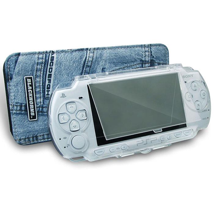 Набор чехлов Black Horns Двойная защита для Sony PSP Slim & LiteBH-PSP02610 (R)Набор чехлов Black Horns Двойная защита для Sony PSP Slim & Lite. В комплект входит защитный пластиковый корпус и джинсовый чехол.Пластиковый корпус защитит вашу приставку от царапин и сколов. В то же время, он обеспечивает прекрасный угол обзора и свободный доступ к кнопкам управления. Защитная крышка UMD-дисковода открывается без снятия корпуса, а специальная подставка позволяет использовать пластиковый корпус как стенд для просмотра видео.Стильный и компактный джинсовый чехол обеспечит удобство переноски вашей консоли. В нем легко помешается пластиковый корпус для приставки.