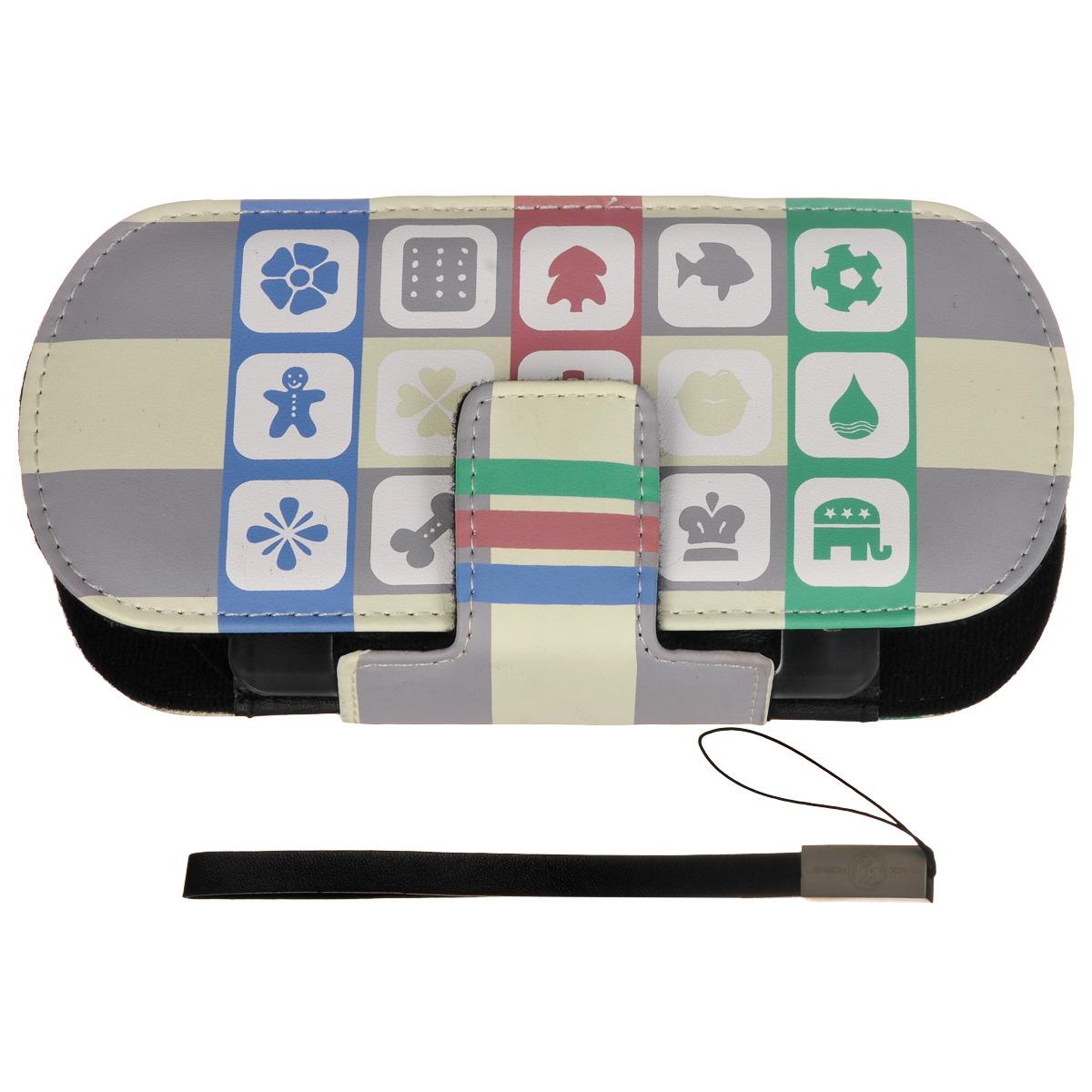 Защитный чехол Free-Style Black Horns для Sony PSP 2000/3000 (N08 пикторгаммы, серый)BH-PSP02208(R)Защитный чехол Free-Style Black Horns для Sony PSP 2000/3000 обеспечит сохранность вашей игровой приставки. Оригинальный графический дизайн Free-Style - совершенное сочетание инноваций и традиционного подхода, эффектно подчеркнет вашу индивидуальность. Внутренняя поверхность чехла для PSP выполнена из мягкого текстиля, не царапающего лицевую панель PSP. Специально разработанная для PSP 2000/3000 система внутренних креплений защитит Вашу консоль от потертостей, повреждений и падений. Система внутренних креплений позволяет открыть/закрыть UMD-привод не вынимая приставку из чехла. Специальные крепления внутри чехла надежно фиксируют PSP, обеспечивая свободный доступ ко всем кнопкам управления, USB-порту, Wi-Fi и UMD-приводу. Чехол можно использовать в качестве подставки при просмотре фильмов, картинок или при прослушивании музыки. На задней части чехла расположены два кармашка под карточки памяти. Чехол оснащен удобной и надежной магнитной застежкой, а также стильным и практичным ремешком на руку, выполненным из высококачественных материалов.