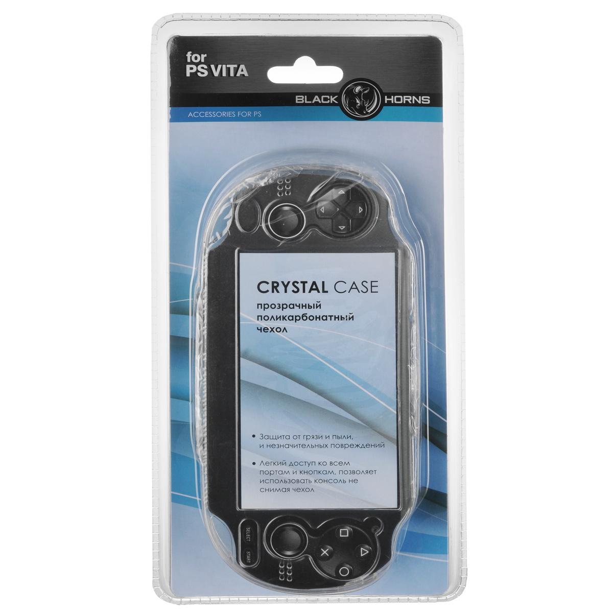 Защитный чехол Black Horns для Sony PS VITA (прозрачный)BH-PSV0202(R)Защитный чехолBlack Horns для Sony PS VITA - стильная и надежная защита из высококачественного материала. Чехол надежно защитит вашу приставку от внешних воздействий, грязи, царапин и потертостей. Чехол легко надевается и снимается, совместим со всеми версиями консоли PS Vita и картами памяти. Легкий доступ ко всем портам и кнопкам позволяет использовать консоль не снимая чехол.