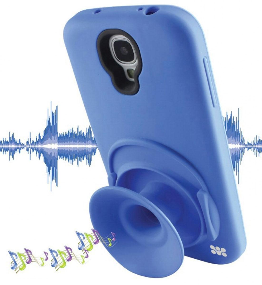 Promate Orator.S4 чехол-накладка для Samsung Galaxy S4, Blue00007740Чехол-накладка Promate Orator.S4 для Samsung Galaxy S4 - это целый комплекс функций, заключенных в кремниево-силиконовом корпусе. Orator-S4 обеспечивает надежную защиту вашего смартфона от царапин, сколов, потертостей и прочих неприятностей. Раскладной силиконовый рупор усиливает штатный звук смартфона в 2 раза, а также является бобиной для наматывания и хранения наушников, исключая их запутывание и скручивание. Чехол может быть использован в качестве вертикальной подставки. Orator-S4 идеально подходит для любителей слушать музыку с телефона.